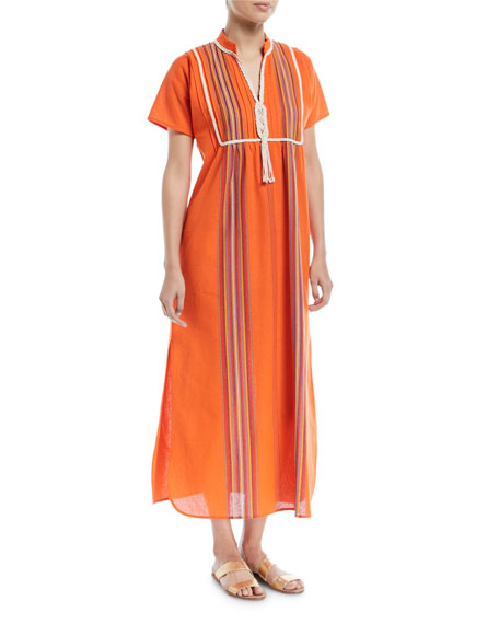 Tory Burch Macrame Short-Sleeve Striped Long Caftan Coverup