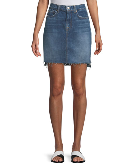 7 For All Mankind Side-Panel A-Line Denim Skirt