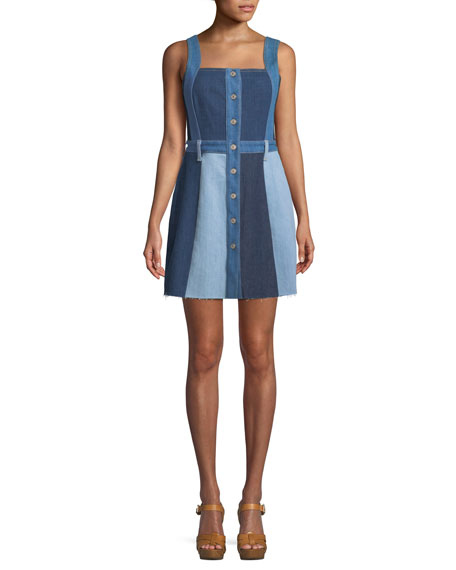7 For All Mankind Button-Down Sleeveless Patchwork A-Line