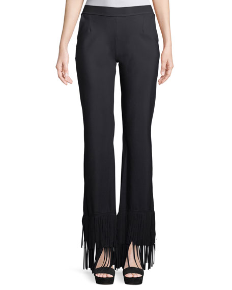 Tonia Wide-Leg Pants w/ Fringe
