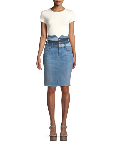 Patchwork Straight Denim Skirt