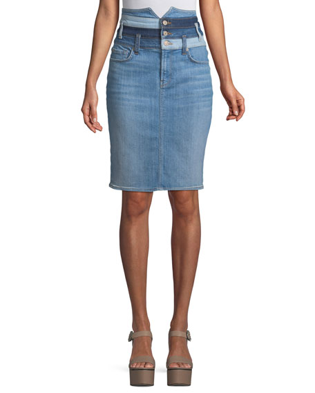 7 For All Mankind Patchwork Straight Denim Skirt