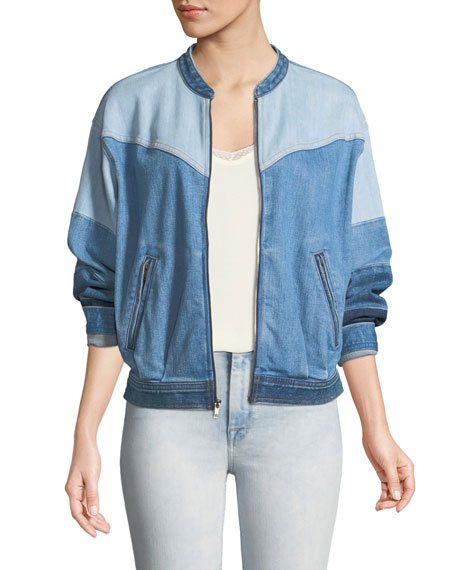 7 for all mankind Zip-Front Patchwork Denim Bomber