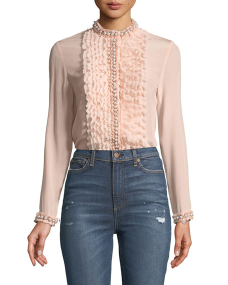 Alice + Olivia Arminda Button-Down Ruffled Chiffon Blouse