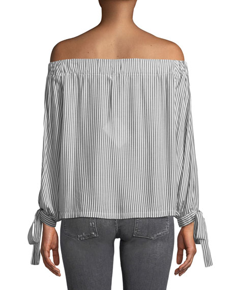 Off-the-Shoulder Tie-Cuff Striped Top