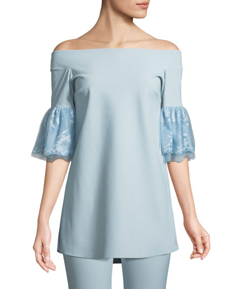 Chiara Boni La Petite Robe Gizzy Lace-Sleeve Off-the-Shoulder