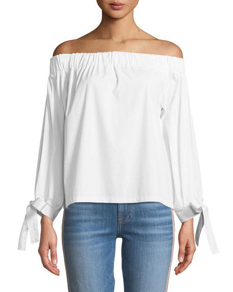 7 For All Mankind Off-the-Shoulder Tie-Cuff Poplin Top