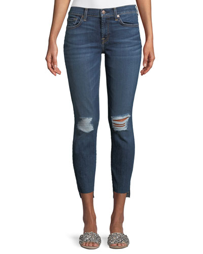 Midnight-Desert Distressed Skinny-Leg Ankle Step-Hem Jeans