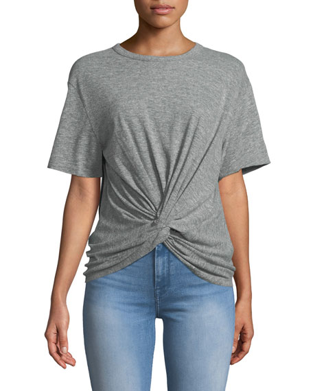 Crewneck Short-Sleeve Knotted-Front Heathered Tee
