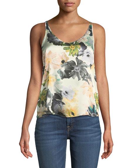 Scoop-Neck Floral-Print Silk Satin Tank
