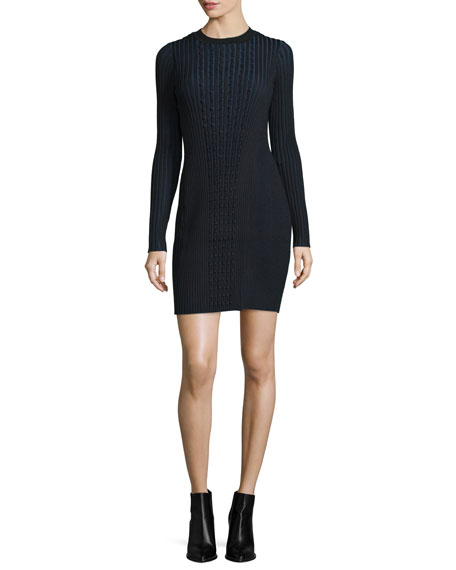 Long-Sleeve Ribbed Faux-Wrap Sweaterdress, Black