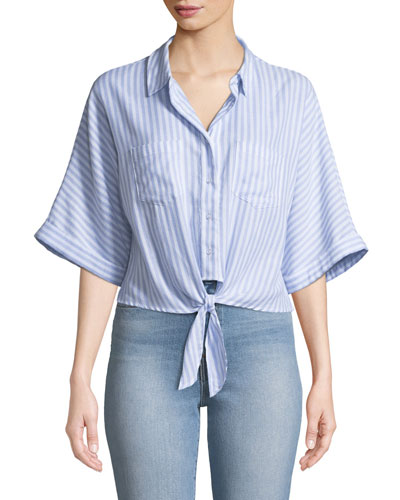 Saundra Striped Button-Down Top