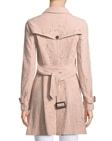 Auretta Button-Front Belted Lace Pea Coat