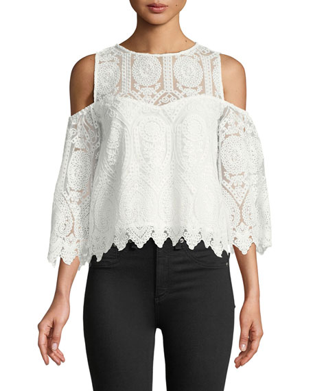 Cupcakes and Cashmere Ally Cold-Shoulder Crochet Lace Top