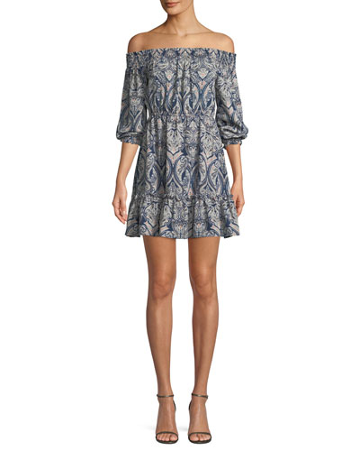 Elroy Off-the-Shoulder Long-Sleeve Paisley-Print Dress