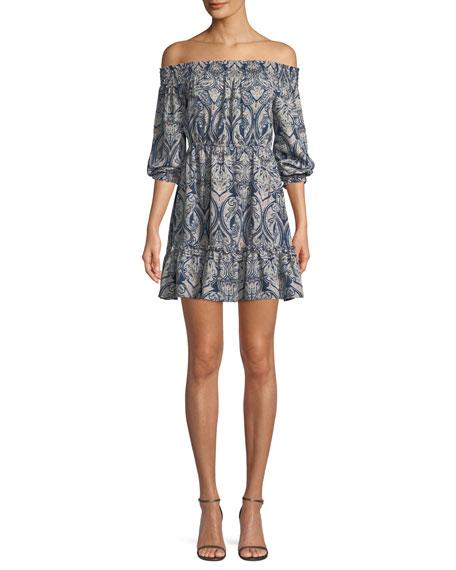 Elroy Off-the-Shoulder Long-Sleeve Paisley-Print Dress