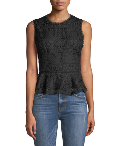 Abriella Sleeveless Lace Peplum Top
