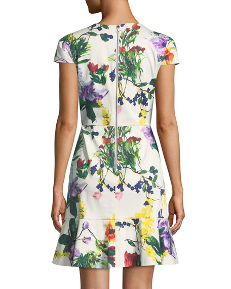 Kirby Jewel-Neck Cap-Sleeve Floral-Print Dress