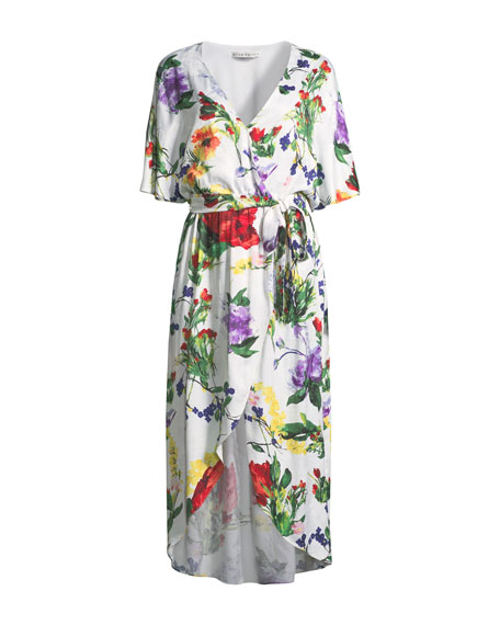 Clarine Floral-Print Wrap Dress with Oversize Sleeves