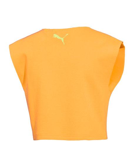 Sleeveless Palm-Tree Logo Crop Top, Orange