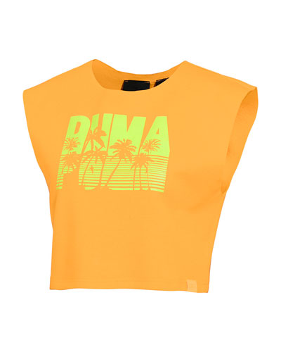 Sleeveless Palm-Tree Logo Crop Top  Orange