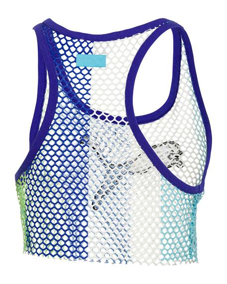 Basketball-Mesh Cropped Tank Top, Blue