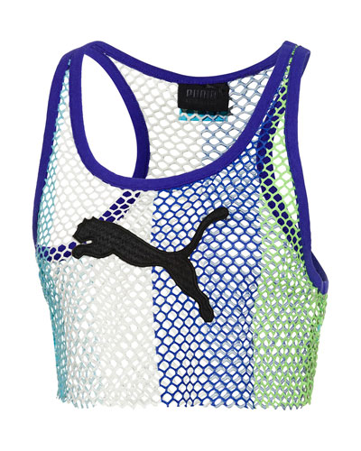 Basketball-Mesh Cropped Tank Top  Blue