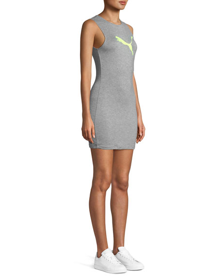 Zip-Back Mini Jersey Tank Dress