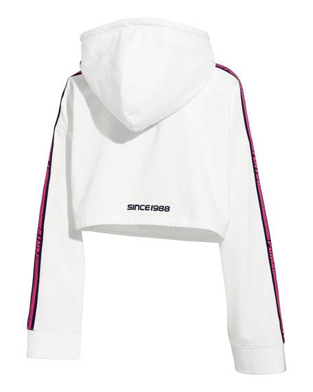 Hooded Cropped Sweatshirt w/ Racer Stripe