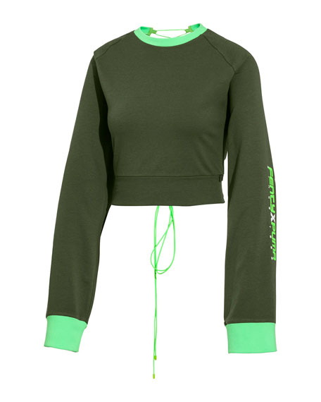 Laced-Back Crewneck Crop Sweatshirt