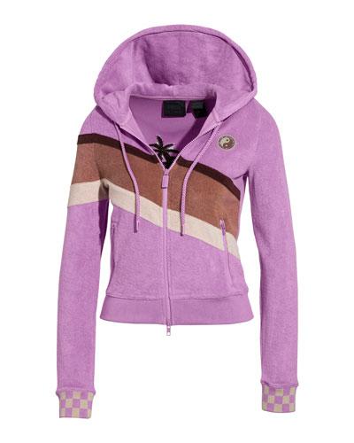 Terry Cloth Zip-Up Racing Jacket
