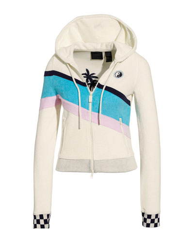 Terry Cloth Zip-Up Racing Jacket
