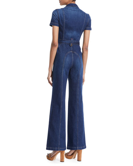 Gorgeous Wide-Leg Fitted Denim Jumpsuit