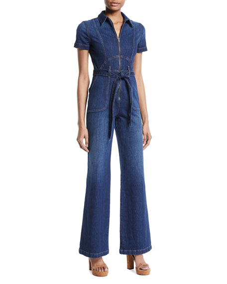 AO.LA Gorgeous Wide-Leg Fitted Denim Jumpsuit