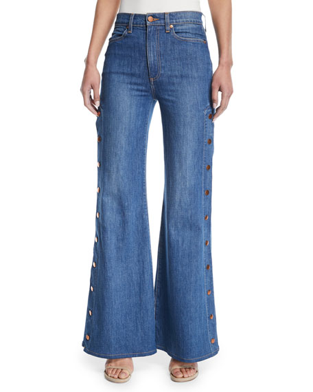 AO.LA Gorgeous High-Rise Wide-Leg Jeans w/ Side Snaps