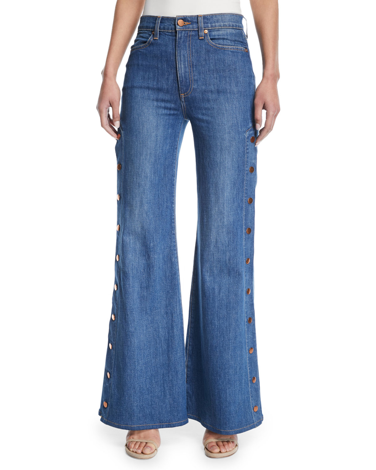 18a425f1ac5b ALICE + OLIVIA JEANS Gorgeous High-Rise Wide-Leg Jeans w  Side Snaps ...