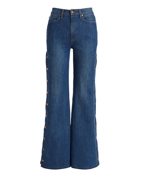 Gorgeous High-Rise Wide-Leg Jeans w/ Side Snaps