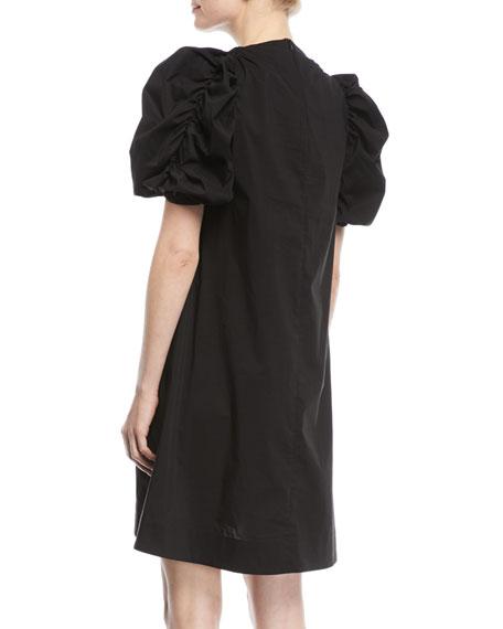 Puff-Sleeve Cotton A-Line Mini Dress