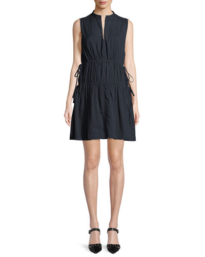 Sleeveless Cotton Dress w/ Tie Detail