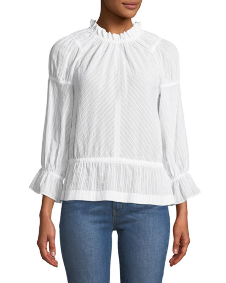 Derek Lam 10 Crosby Long Bell-Sleeve Striped Cotton