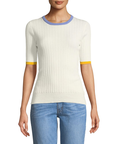 Crewneck Short-Sleeve Rib-Knit Tee
