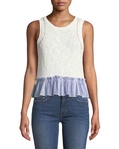Derek Lam 10 Crosby Cropped Knit Shell W/