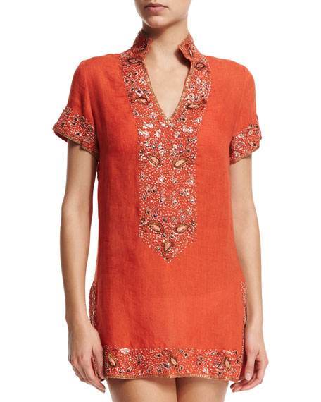 Florabella VICEROY BEADED LINEN SHORT COVERUP TUNIC, SUNRISE