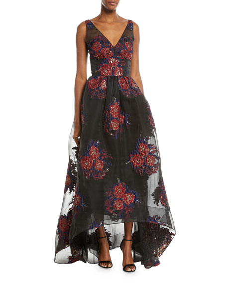 V-Neck Sleeveless Floral Ball Gown