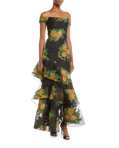 Asymmetric Tiered Floral Off-the-Shoulder Dress