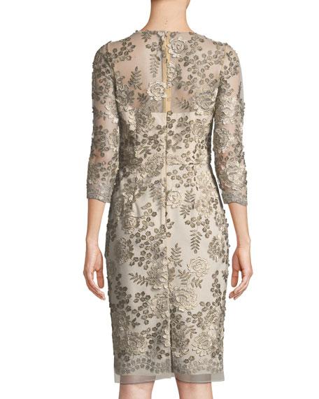 Embellished Floral Three-Quarter Sleeve Dress