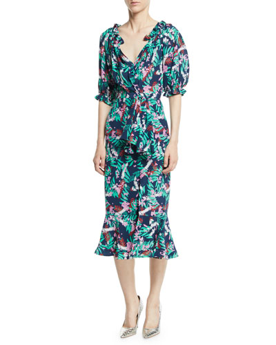 Olivia Printed Silk Midi Dress