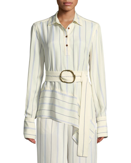 Long-Sleeve Belted Asymmetric Shirt