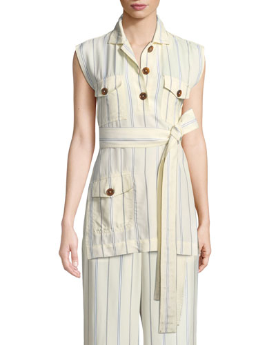 Sleeveless Belted Stripe Utility Tunic