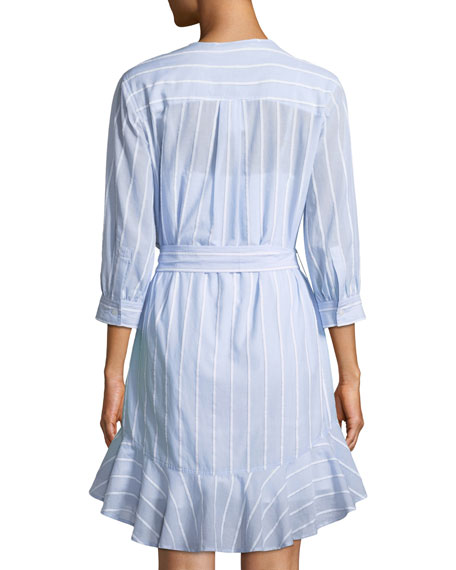 Belted Stripe Asymmetric-Placket Dress